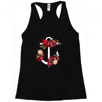 Anchor Floral For Dark Racerback Tank Designed By Sengul
