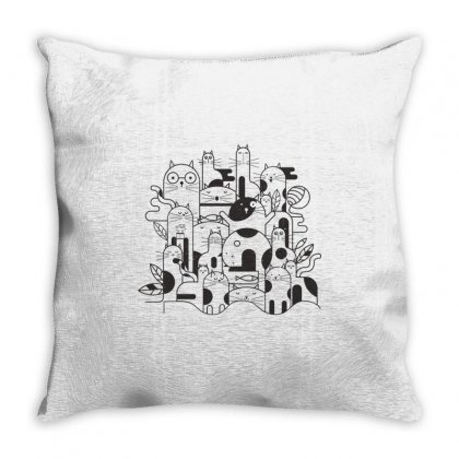 Cats Throw Pillow Designed By Estore