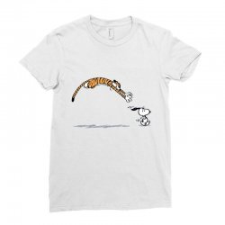 hobbes catch snoopy Ladies Fitted T-Shirt | Artistshot