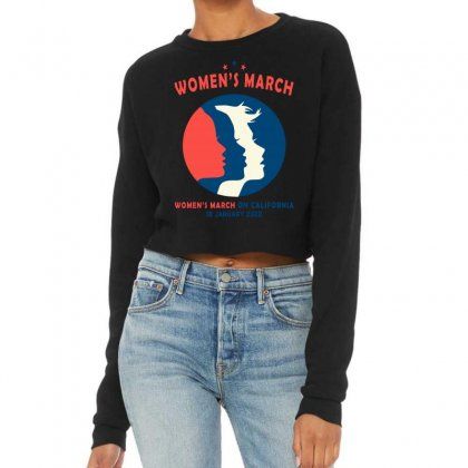 Women's March On California Cropped Sweater