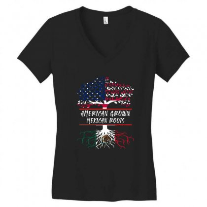 American Grown Mexican Root Women's V-neck T-shirt Designed By Sengul