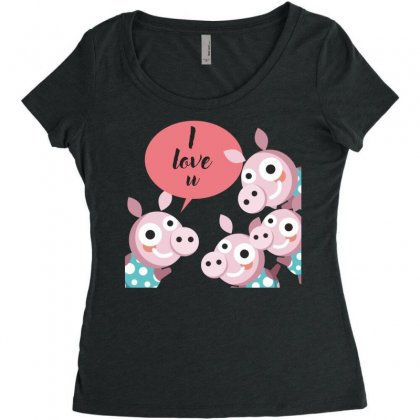 I Love You Women's Triblend Scoop T-shirt Designed By Estore