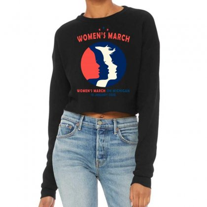 Women's March On Michigan Cropped Sweater