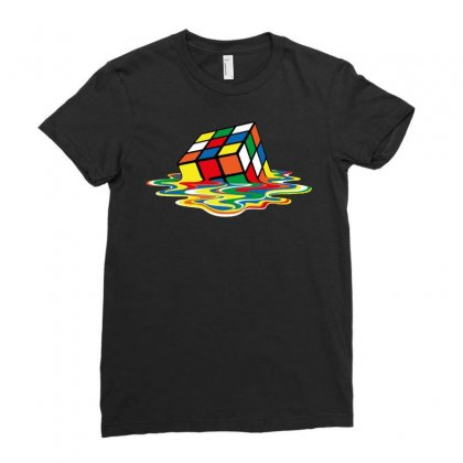 Sheldon Cooper   Melting Rubik's Cube Ladies Fitted T-shirt Designed By Dongdot Apparel