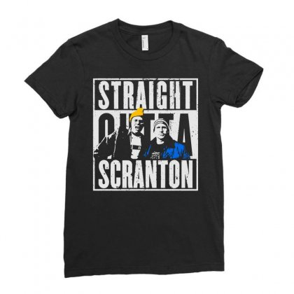 Straight Outta Scranton Ladies Fitted T-shirt Designed By Dongdot Apparel