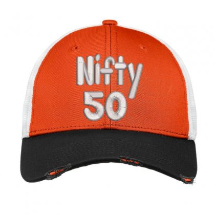 Nifty 50 Embroidered Hat Vintage Mesh Cap Designed By Madhatter