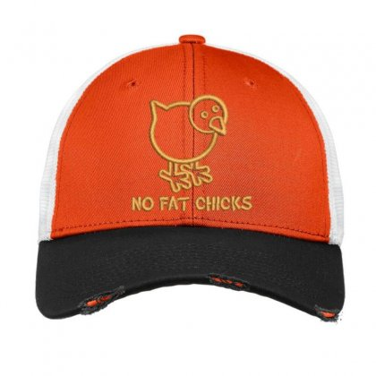 No Fat Chicks Embroidered Hat Vintage Mesh Cap Designed By Madhatter
