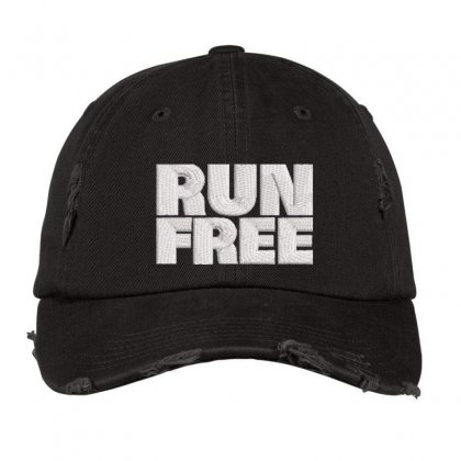 Run Free Embroidered Hat Distressed Cap Designed By Madhatter