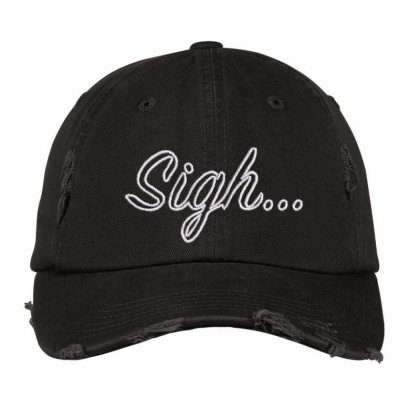 Sigh Embroidered Hat Distressed Cap Designed By Madhatter