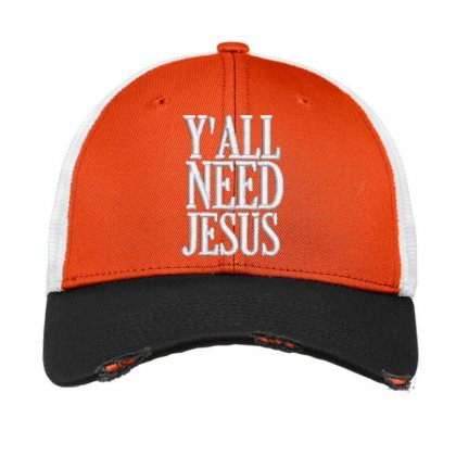 Y'all Need Jesus Embroidered Hat Vintage Mesh Cap Designed By Madhatter