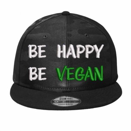 Be Happy Be Vegan Embroidered Hat Camo Snapback Designed By Madhatter