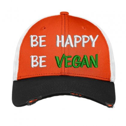 Be Happy Be Vegan Embroidered Hat Vintage Mesh Cap Designed By Madhatter