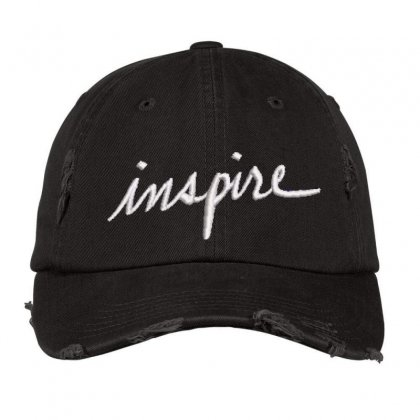 Inspire Embroidered Hat Distressed Cap Designed By Madhatter