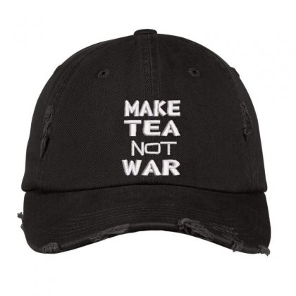 Make Tea Not War Embroidered Hat Distressed Cap Designed By Madhatter
