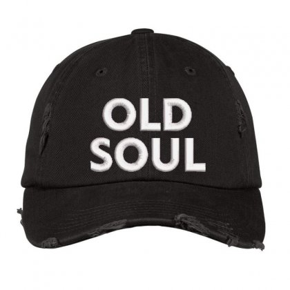 Old Soul Embroidered Hat Distressed Cap Designed By Madhatter