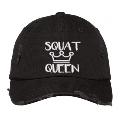 Squat Queen Embroidered Hat Distressed Cap Designed By Madhatter