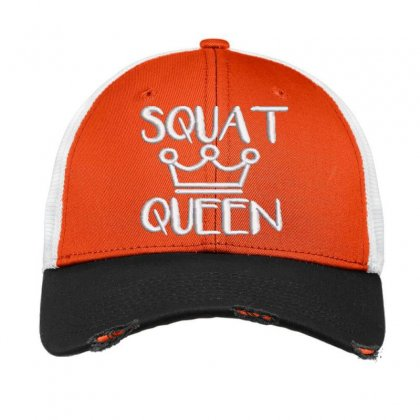 Squat Queen Embroidered Hat Vintage Mesh Cap Designed By Madhatter