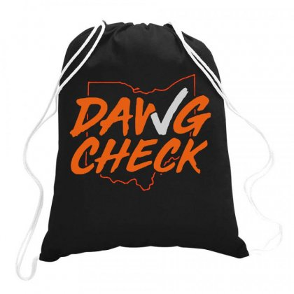 Dawg Check    Cleveland Brown Drawstring Bags Designed By Jurdex Tees