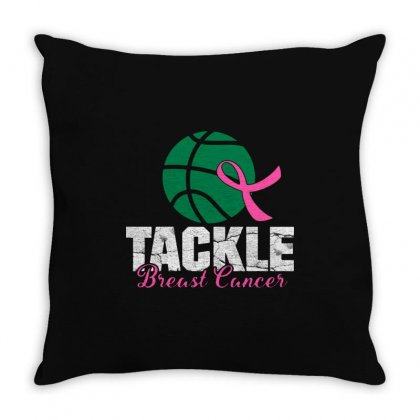 Basketball Tackle Breast Cancer Throw Pillow Designed By Jurdex Tees