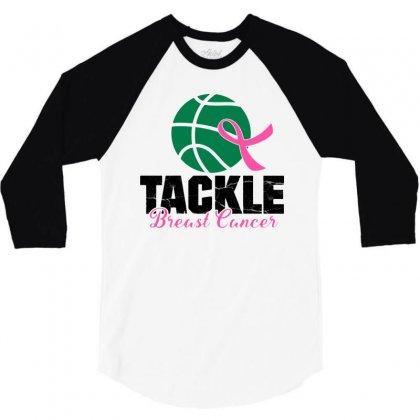 Basketball Tackle   Breast Cancer 3/4 Sleeve Shirt Designed By Jurdex Tees