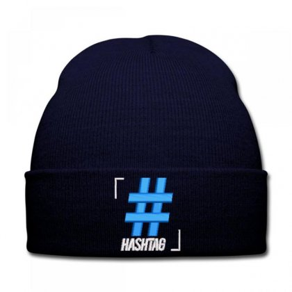 Hashtag Embroidered Hat Knit Cap Designed By Madhatter