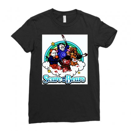 Horror Characters Scare Bears Ladies Fitted T-shirt Designed By Hot Maker