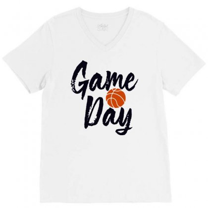 Game Day Happy Day Basketball Lovely V-neck Tee Designed By Hot Maker