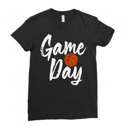 Game Day Happy Day Basketball Lovely   For Dark Ladies Fitted T-shirt Designed By Hot Maker