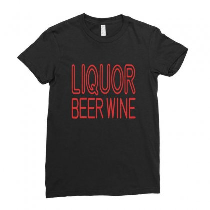Liquor Beer Wine Ladies Fitted T-shirt Designed By Nidadesign
