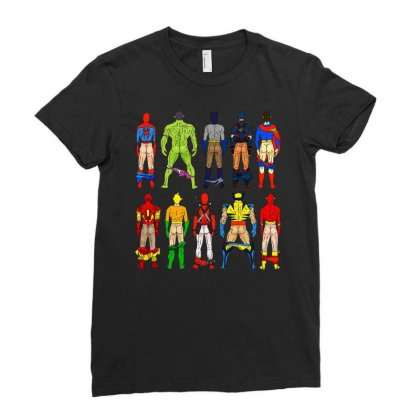 Funny Heroes Butts Ladies Fitted T-shirt Designed By Hot Maker