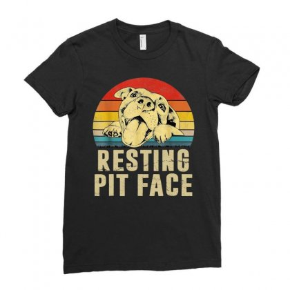 Dog Pitbull Resting Pit Face Vintage Ladies Fitted T-shirt Designed By Hot Maker