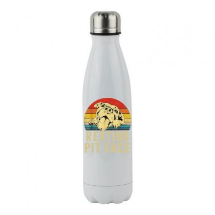 Dog Pitbull Resting Pit Face Vintage Stainless Steel Water Bottle Designed By Hot Maker
