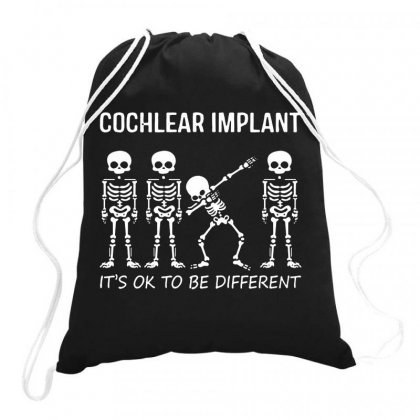 Kids Hearing Loss Dabbing Skeleton Wearing Cochlear Implant Drawstring Bags Designed By Jablay