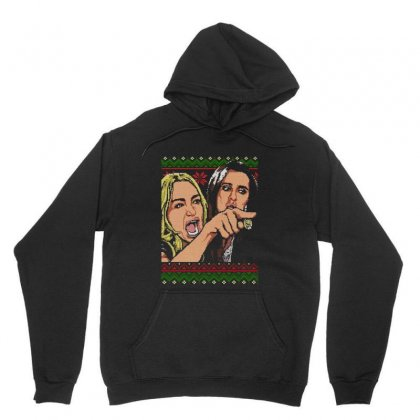 Woman Yelling At Cat Meme   Ugly Sweater Unisex Hoodie Designed By Jablay