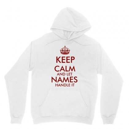 Keep Calm And Let Add Your Own Name Handle It   Red Text Unisex Hoodie Designed By Jablay