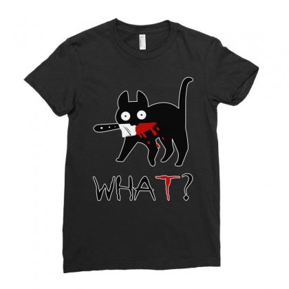 Funny Murderous Cat With Knife Ladies Fitted T-shirt Designed By Jablay