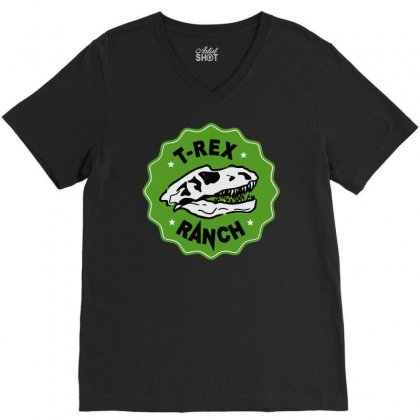 T Rex Ranch V-neck Tee Designed By Jablay
