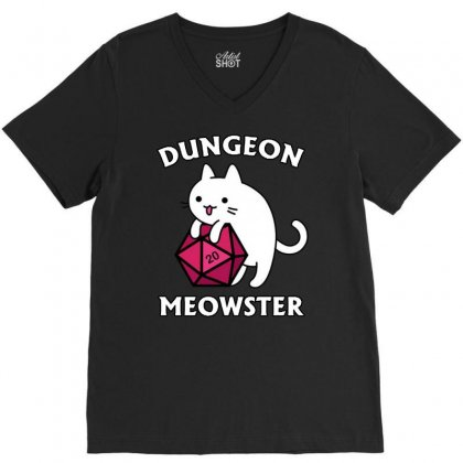 Dungeon Meowster V-neck Tee Designed By Jablay