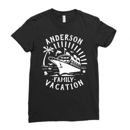 Family Vacation Cruise Ship Trip   In White Ladies Fitted T-shirt Designed By Jablay