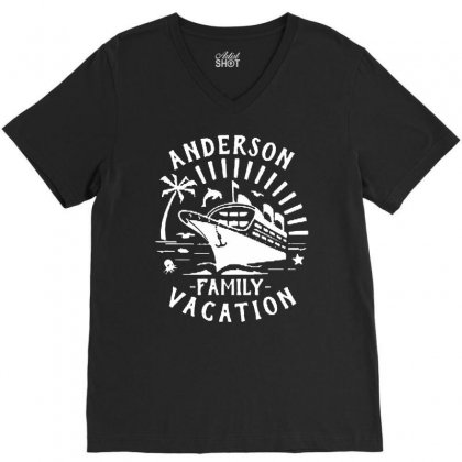 Family Vacation Cruise Ship Trip   In White V-neck Tee Designed By Jablay