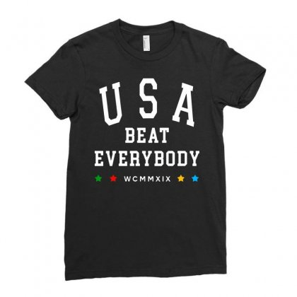 Usa Beat Everybody Uswnt   White Ladies Fitted T-shirt Designed By Jablay