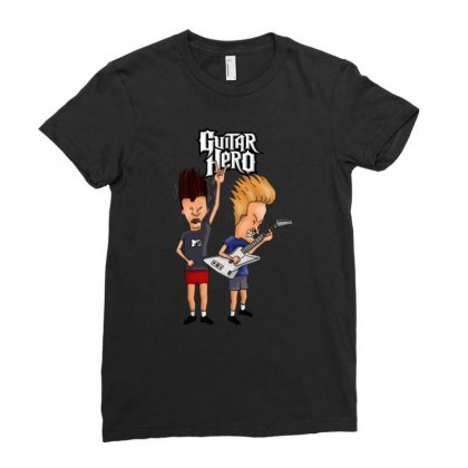 Guitar Hero Funny Beavis And Butthead Ladies Fitted T-shirt Designed By Jablay