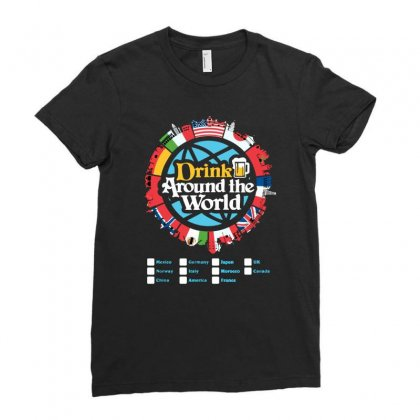 Drink Around The World Ladies Fitted T-shirt Designed By Jablay