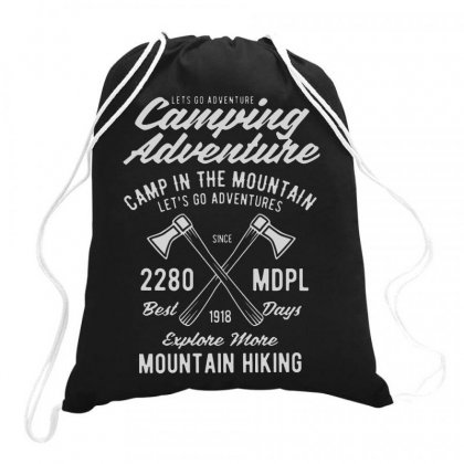 Camping Adventure Drawstring Bags Designed By Jablay