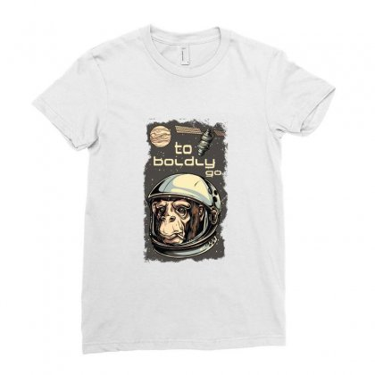 Cosmic Chimp To Boldly Go Ladies Fitted T-shirt Designed By Perfect Designers