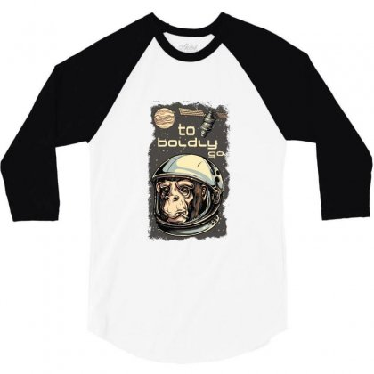 Cosmic Chimp To Boldly Go 3/4 Sleeve Shirt Designed By Perfect Designers