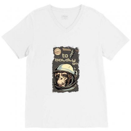 Cosmic Chimp To Boldly Go V-neck Tee Designed By Perfect Designers