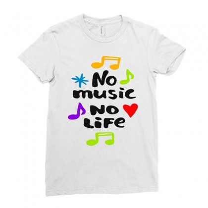 No Music No Life Wht Ladies Fitted T-shirt Designed By Dongdot Apparel