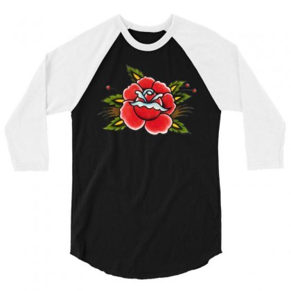 Red Flower 3/4 Sleeve Shirt Designed By Dongdot Apparel