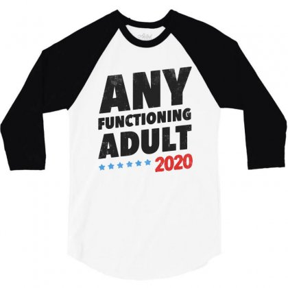 Any Functioning Adult Vintage Cool 3/4 Sleeve Shirt Designed By Dongdot Apparel